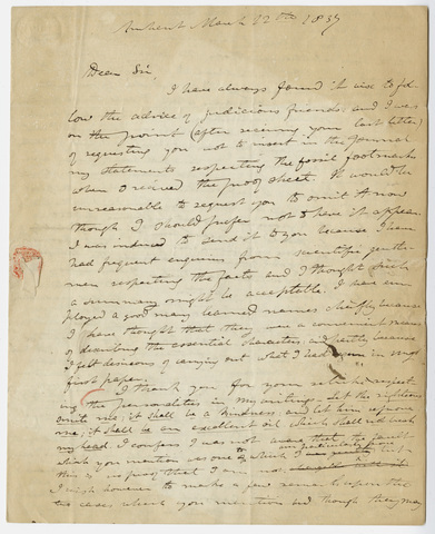 Edward Hitchcock letter to Benjamin Silliman, 1837 March 12