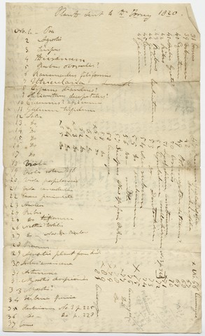 Edward Hitchcock list of specimens sent to John Torrey, 1820