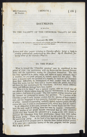 Documents in relation to the validity of the Cherokee treaty of 1835