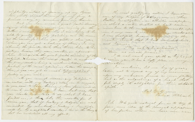 Edward Hitchcock letter to the Smith family, 1856 September 20