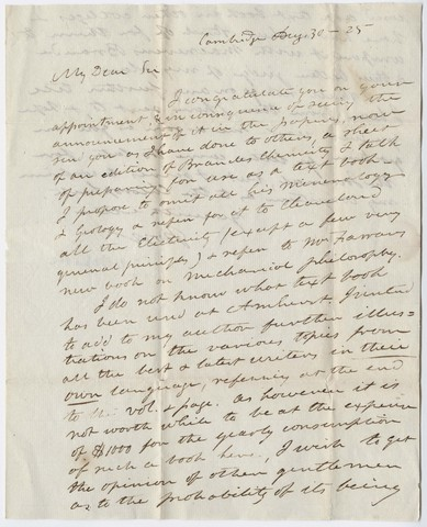 John White Webster letter to Edward Hitchcock, 1825 August 30