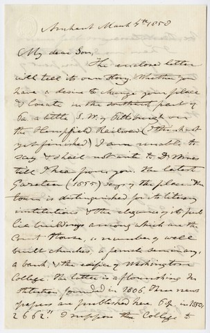 Edward Hitchcock letter to Edward Hitchcock, Jr., 1858 March 4