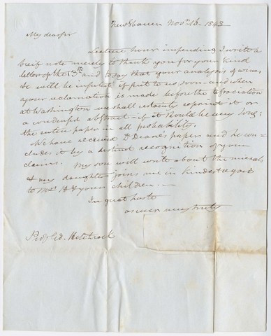Benjamin Silliman letter to Edward Hitchcock, 1843 November 16
