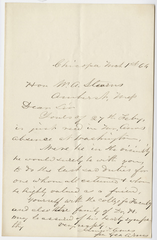 James T. Ames letter to William Augustus Stearns, 1864 March 1