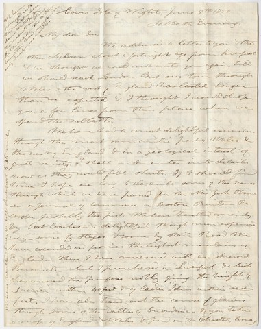 Edward Hitchcock and Orra White Hitchcock letter to Edward Hitchcock, Jr., 1850 June 9 and 1850 June 13