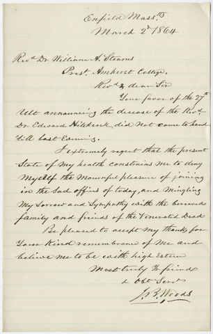 Josiah B. Woods letter to William Augustus Stearns, 1864 March 2