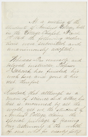 Amherst College students' resolutions regarding Edward Hitchcock