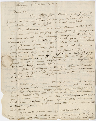 Edward Hitchcock letter to Benjamin Silliman, 1822 November 6