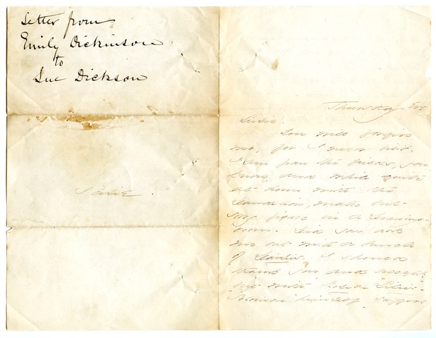 Emily Dickinson letter to [Susan Phelps?]