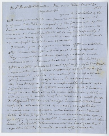 Benjamin Silliman letter to Edward Hitchcock, 1850 December 30