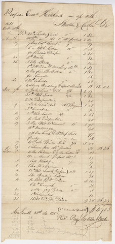 Edward Hitchcock account of purchases from Sweetser & Cutler, 1838 December 25