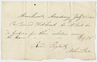 Edward Hitchcock receipt of payment to Nahum Gale, 1838 July 22
