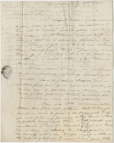 Edward Hitchcock letter to Benjamin Silliman, 1818 July 6