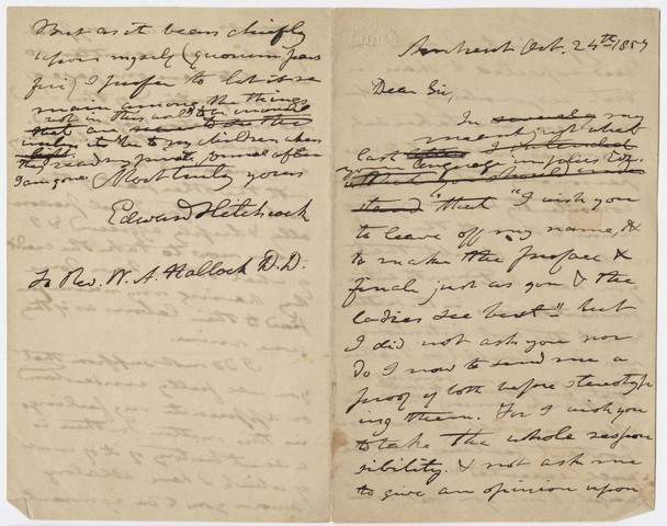 Edward Hitchcock letter to William A. Hallock, 1857 October 24