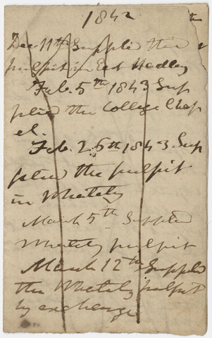 Edward Hitchcock list of preaching locations, 1842-1846