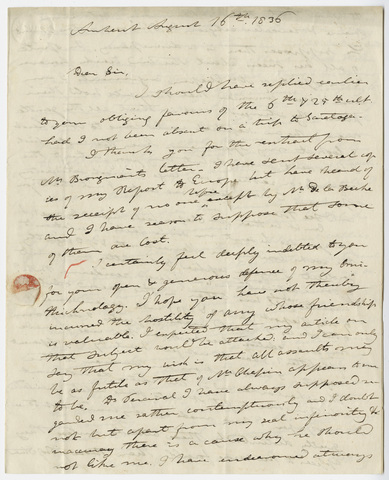 Edward Hitchcock letter to Benjamin Silliman, 1836 August 16