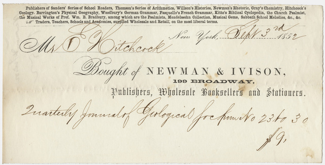 Edward Hitchcock receipt of payment to Newman & Ivison, 1852 September 3