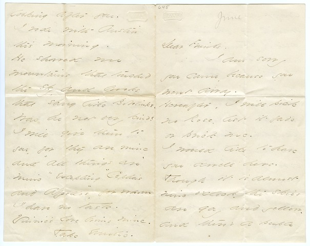 Emily Dickinson letter to Mr. and Mrs. Samuel Bowles