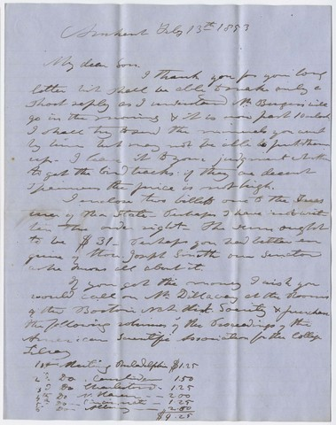 Edward Hitchcock letter to Edward Hitchcock, Jr., 1853 February 13