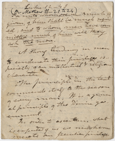 Edward Hitchcock sermon notes, 1834 October