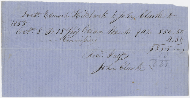 Edward Hitchcock receipt of payment to John Clarke, 1858 October 8