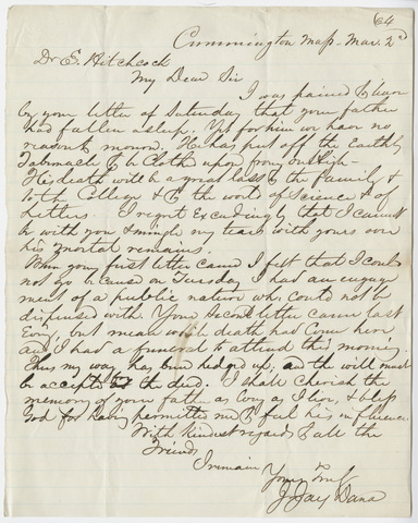 J. Jay Dana letter to Edward Hitchcock, Jr., 1864 March 2