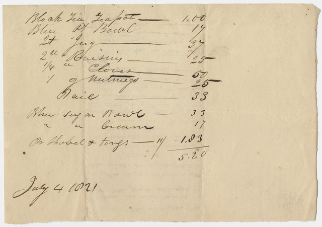 List of household expenses, 1821 July 4
