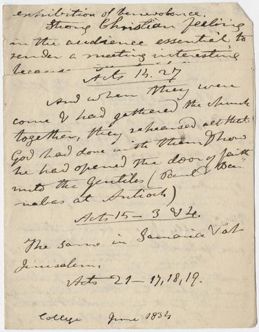 Edward Hitchcock sermon notes, 1834 June
