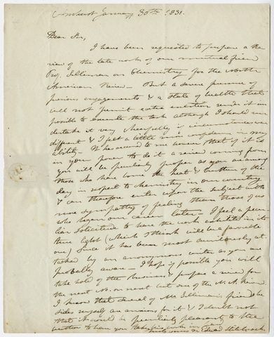 Edward Hitchcock letter to unidentified recipient, 1831 January 30