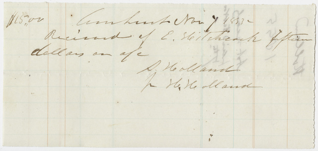 Edward Hitchcock receipt of payment to Seneca and Henry Holland, 1855 November 7