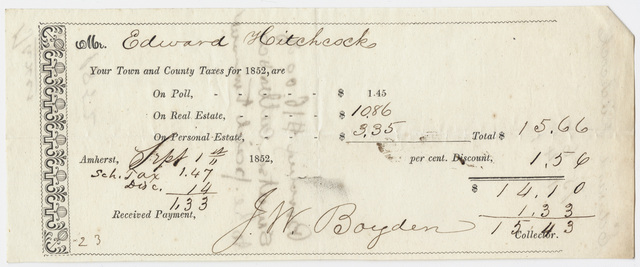 Edward Hitchcock receipt of payment to the town of Amherst, 1852