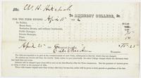 Edward Hitchcock receipt of payment to Amherst College, 1856 April 25
