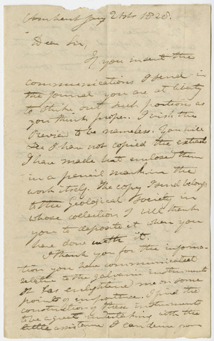 Edward Hitchcock letter to Benjamin Silliman, 1828 January 21