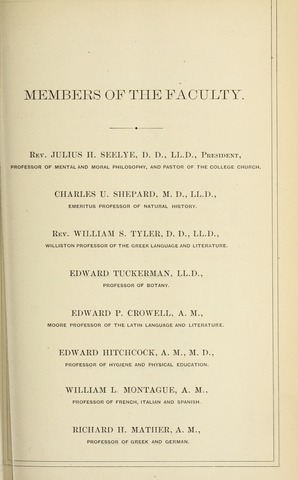 Amherst College Catalog 1877/1878