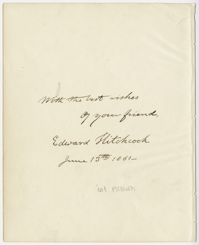 Edward Hitchcock signature, 1861 June 13