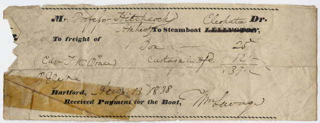 Edward Hitchcock receipt for shipping, 1838 August 13