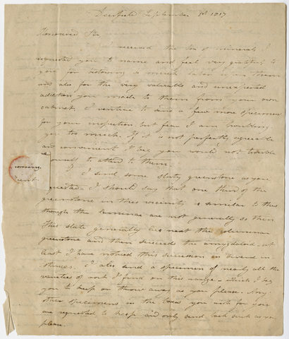 Edward Hitchcock letter to Benjamin Silliman, 1817 September 1