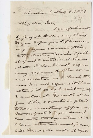 Edward Hitchcock letter to Edward Hitchcock, Jr., 1859 August 1