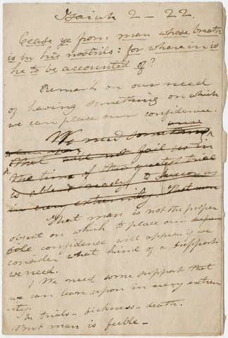 Edward Hitchcock sermon notes, 1823 August 25