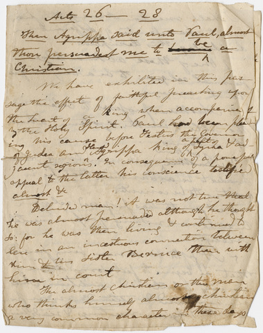 Edward Hitchcock sermon notes, 1831 March 27