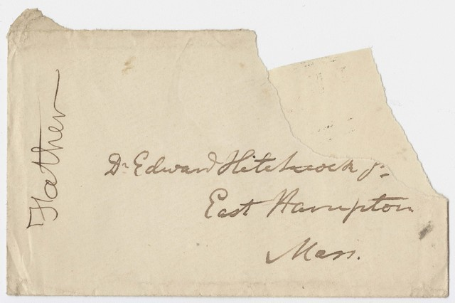 Edward Hitchcock envelope to Edward Hitchcock, Jr.