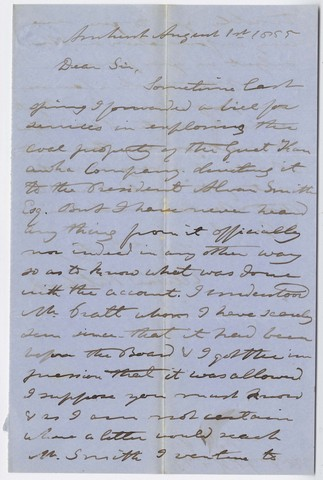 Edward Hitchcock letter to G. T. Bond, 1855 August 1
