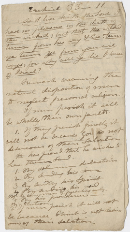 Edward Hitchcock sermon notes, 1823 August