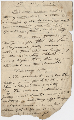 Edward Hitchcock sermon notes, 1833 June 1