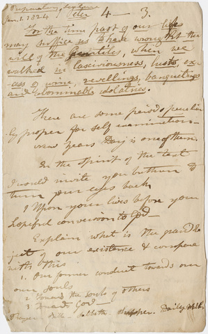 Edward Hitchcock sermon notes, 1824 January 1