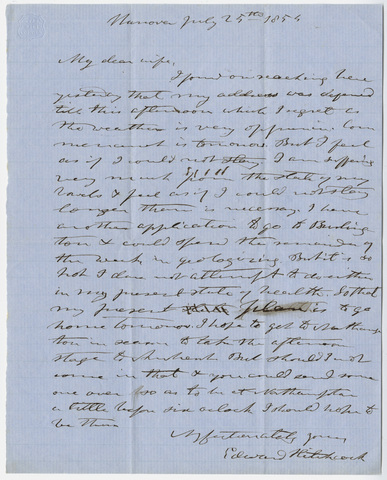Edward Hitchcock letter to Orra White Hitchcock, 1854 July 25