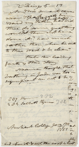 Edward Hitchcock sermon notes, 1861 January 17