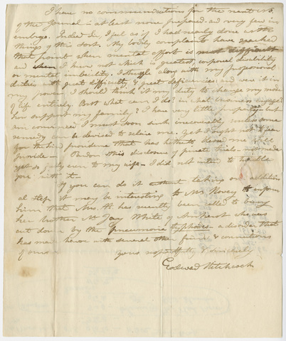 Edward Hitchcock letter to Benjamin Silliman, 1825
