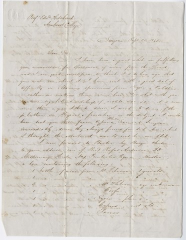 Henry J. Van-Lennep letter to Edward Hitchcock, 1842 September 23