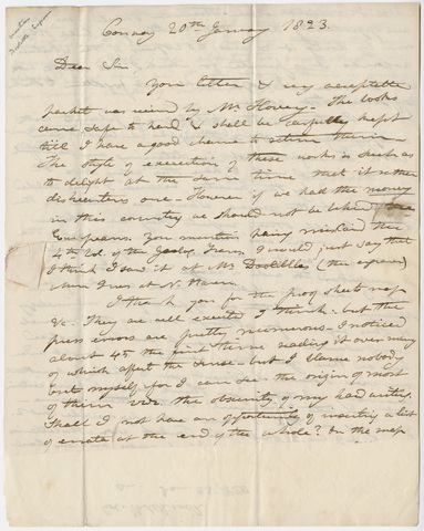 Edward Hitchcock letter to Benjamin Silliman, 1823 January 20